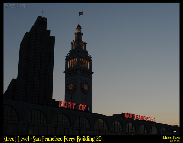 Photos taken of or around the San Francisco Ferry Building at sunset. Thanks to Flickr user nightbeacons for providing the inspiration for this photo shoot :)  San Francisco Ferry Building, 29 May 2011.