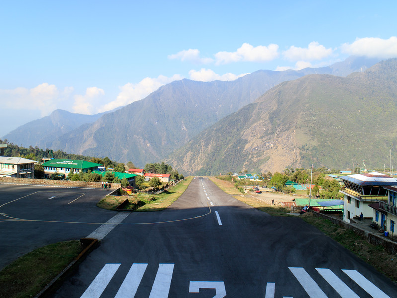 Don't mess with the Lukla runway.  at almost an angle of 12 degrees, the 1500ft runway drops off a cliff on one end and goes into the side of a mountain on the other.