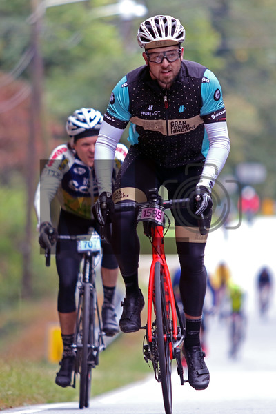 D.J. Jordan rides at the Gran Fondo Hincapie Greenville in Saluda, N.C., on October 19, 2019