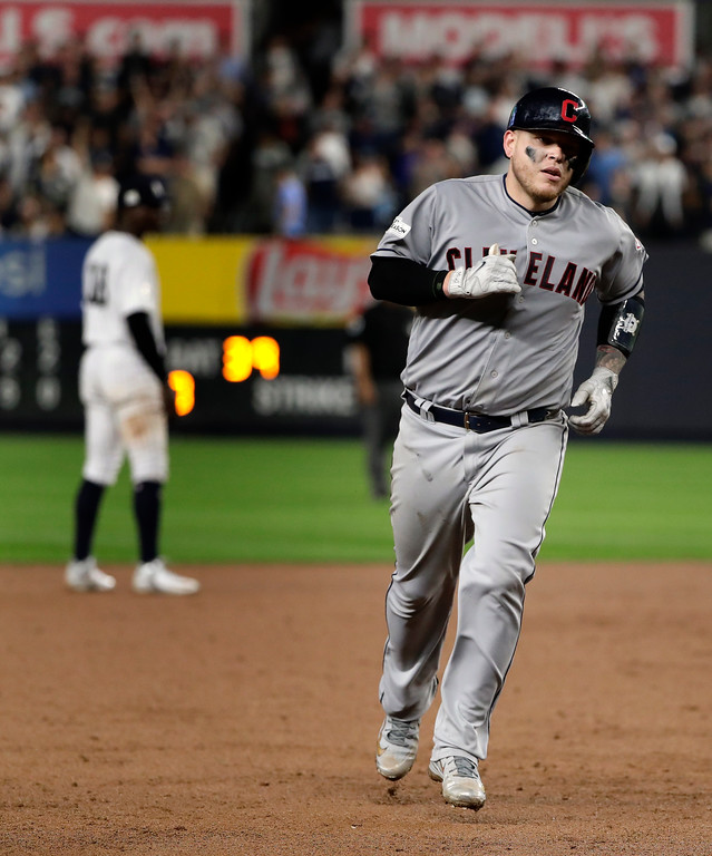. Cleveland Indians\' Roberto Perez rounds the bases after hitting a solo home run against the New York Yankees during the fifth inning in Game 4 of baseball\'s American League Division Series, Monday, Oct. 9, 2017, in New York. (AP Photo/Frank Franklin II)