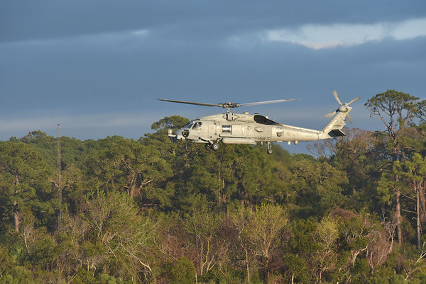 Navy Chopper over Jekyll 02-26-18