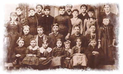 CA 1888 - DEADWOOD DISTRICT #50 SCHOOL Thanks to Jerry Bryant for sharing this great old photograph.  Photo key reads: 1-Nellie Carrol; 2-Effie Kearney; 3-Gene Ducharme; 4-Evaline Ducharme; 5-Teacher Cora Parsons; 6-Ed Carroll; 7-Rosie Kearney; 8-Alf Carroll; 9-Alvina Montehey; 10-(Charlie) John Kearney; 11- ____Montehey; 12-Charlie Kinghorn; 12-Joe Ducharme; 14-Frank Beck; 15-Dave Kinghorn; 16-Geo. Kearney; 17-Elva Swanson; 18-Geo. Carroll; 19-Hattie Beck; 20-Lena Odan; 21-Evaline Ducharme (again?); 22-Alice Beck;  23-Rose Ducharme; and 24-Robert (Cody) Kearney.  Click photo to choose a larger size image.