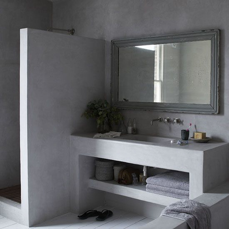 Bathroom grey walls painted floorboards washbasin table shower partition real home L etc 06/2009 not used