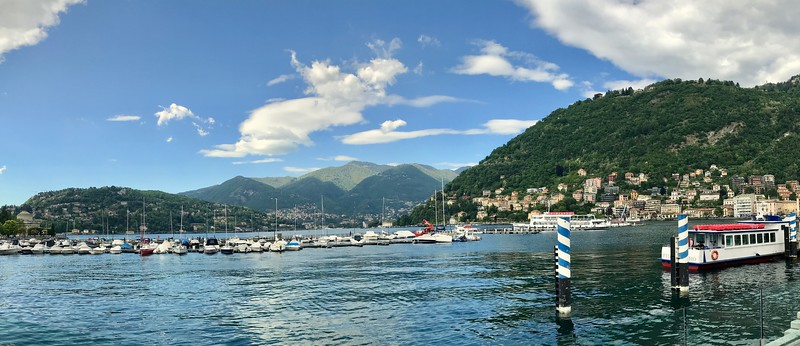 View from the harbor of the city of Como on the southern end of Lake Como