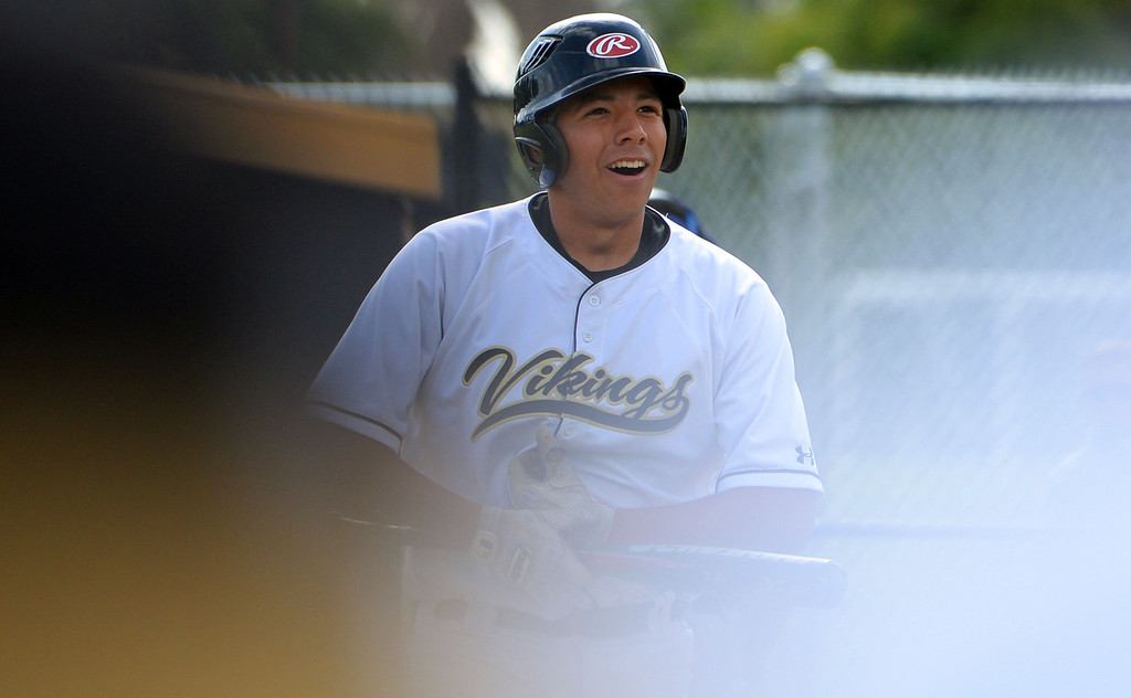 . Northview\'s Joe Serna reacts after striking out with bases loaded in the first inning of a prep baseball game against San Dimas at Northview High School in Covina, Calif., on Wednesday, March 26, 2014. San Dimas won 2-0. (Keith Birmingham Pasadena Star-News)