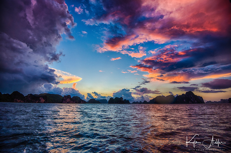 Gorgeous sunrise on Halong Bay.