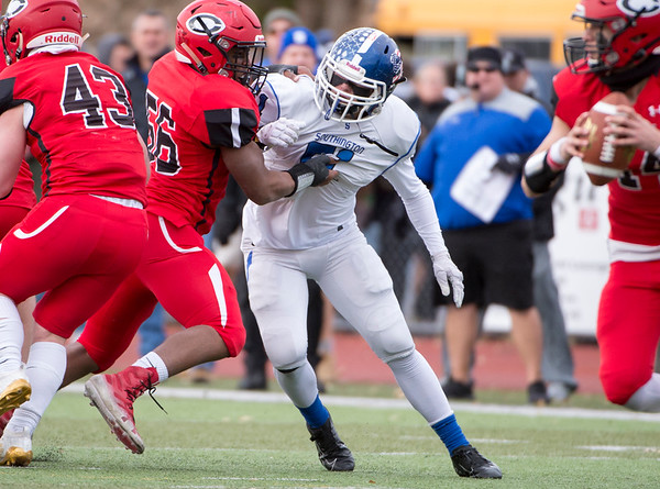 11/28/19 Wesley Bunnell | Staff Southington football vs Cheshire in the Apple Valley Classic on Thanksgiving morning at Cheshire High School. LB William Carr (51).
