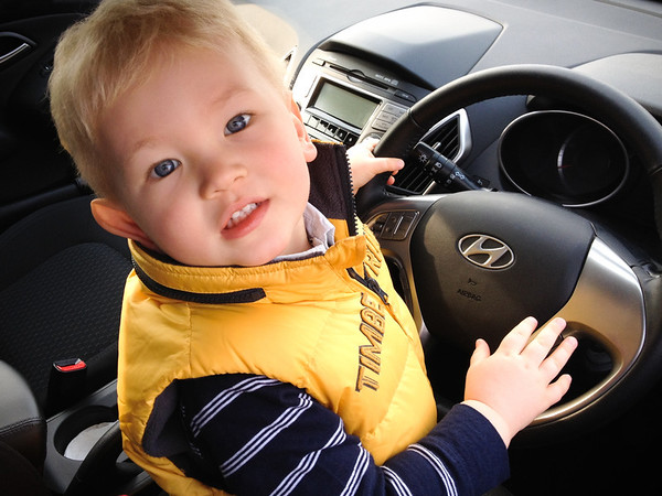 March 2012 - William in Grandad's Car