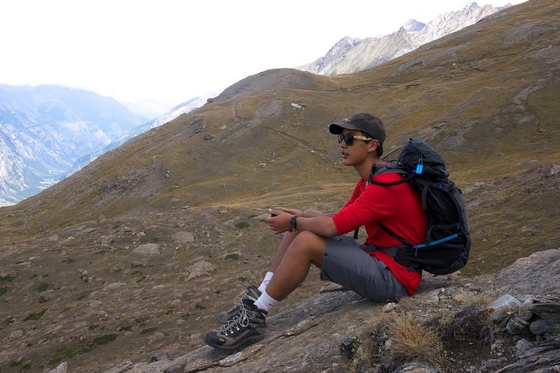 Chris taking a break on a long hike