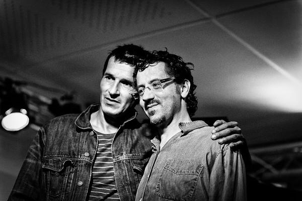 Bruno Angelini et Philippe le Baraillec à la péniche l'Improviste le 22 juin 2013