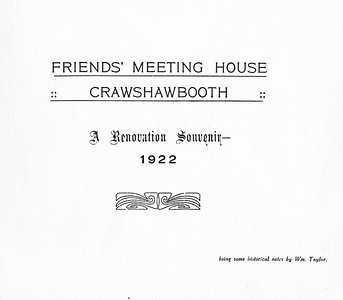 Crawshawbooth - Friends' Meeting House, Crawshawbooth. A Renovation Souvenir, 1922