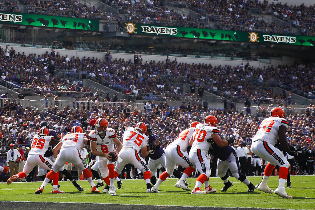 . Cleveland Browns quarterback Kevin Hogan (8) turns out of the pocket during the first half of an NFL football game against the Baltimore Ravens in Baltimore, Sunday, Sept. 17, 2017. (AP Photo/Patrick Semansky)