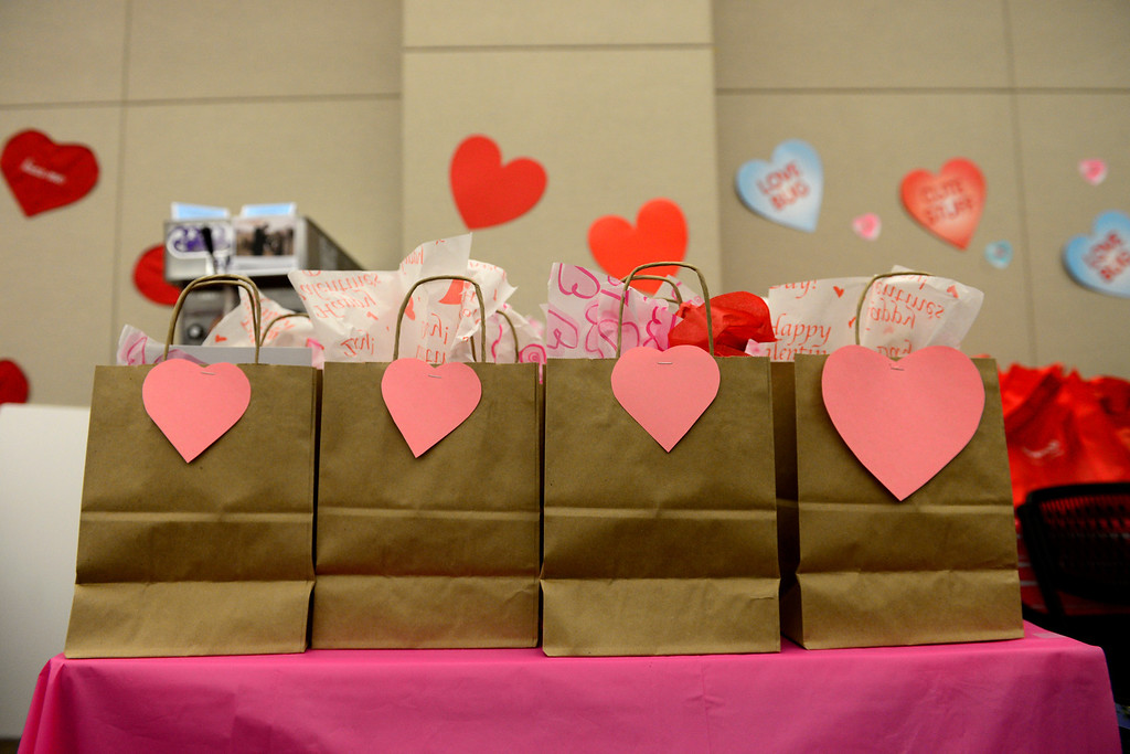 . DENVER, CO - FEBRUARY 14: Gift bags sit on a table during a Valentine\'s Day marriage celebration at the Denver Clerk and Recorder\'s office. Couples applying for marriage licenses received gift bags containing gift certificates to local restaurants among other treats to celebrate their union. (Photo By AAron Ontiveroz/The Denver Post)