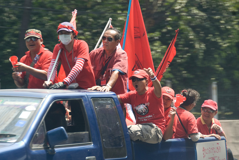 Another set of Red Shirt protesters on the back of truck