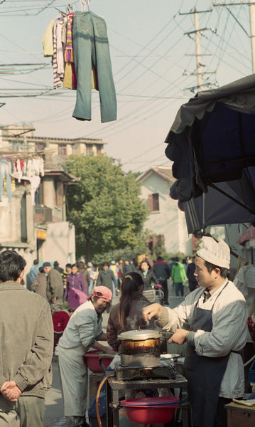 street scene, street market, shanghai, china, 2005