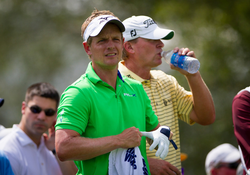 Luke Donald with Steve Stricker on the 11th tee box  during first round action at the BMW Championship at Crooked Stick CC in Carmel Indiana on Thursday Sept. 6, 2012. (Charles Cherney/WGA)