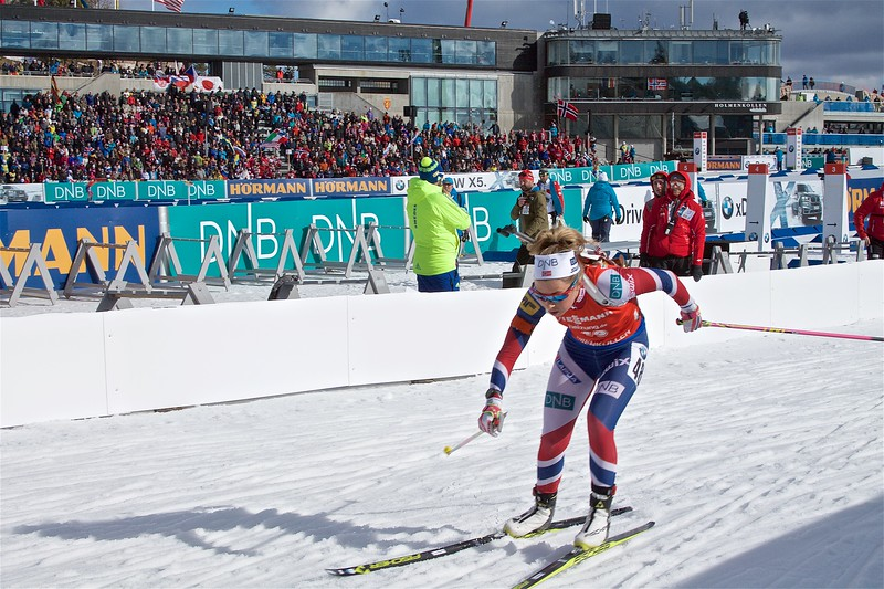 When I first got there the women were just finishing up. This is my only acceptable shot of the womens  biathlon.