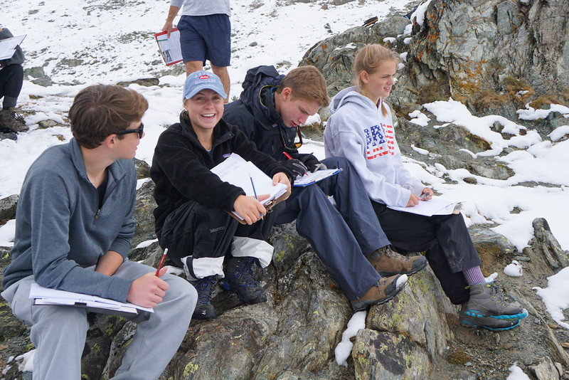 Holden, Mary, Will, and Shea studying the glaciers below