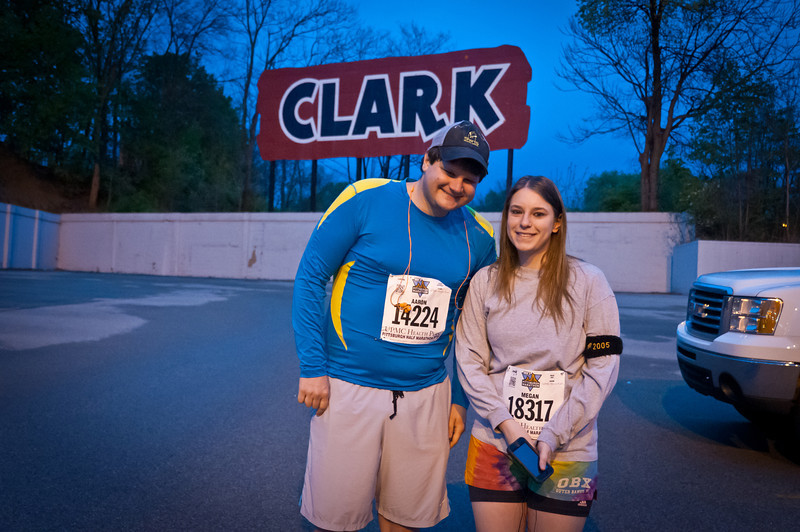 It started in the early morning hours of Sunday, May 4, in the parking lot across from the Trib offices. Colleagues and training partners, Aaron amd Megan, were prepared to take on the 13.1 mile course. May the Fourth be with you.
