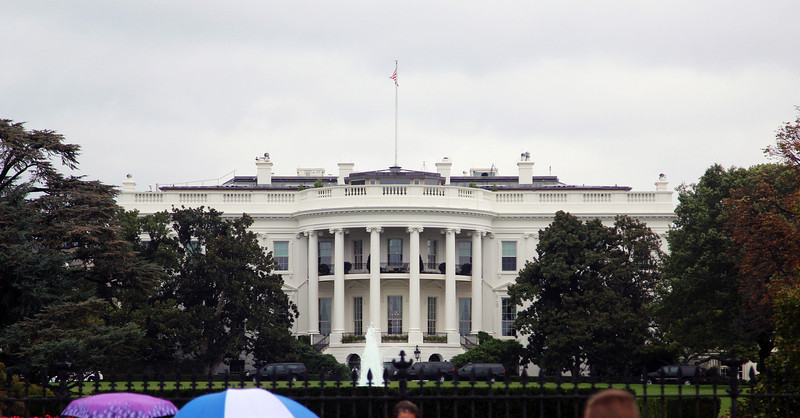 Outside, it's rainy with few tourists.  Here is the White House.