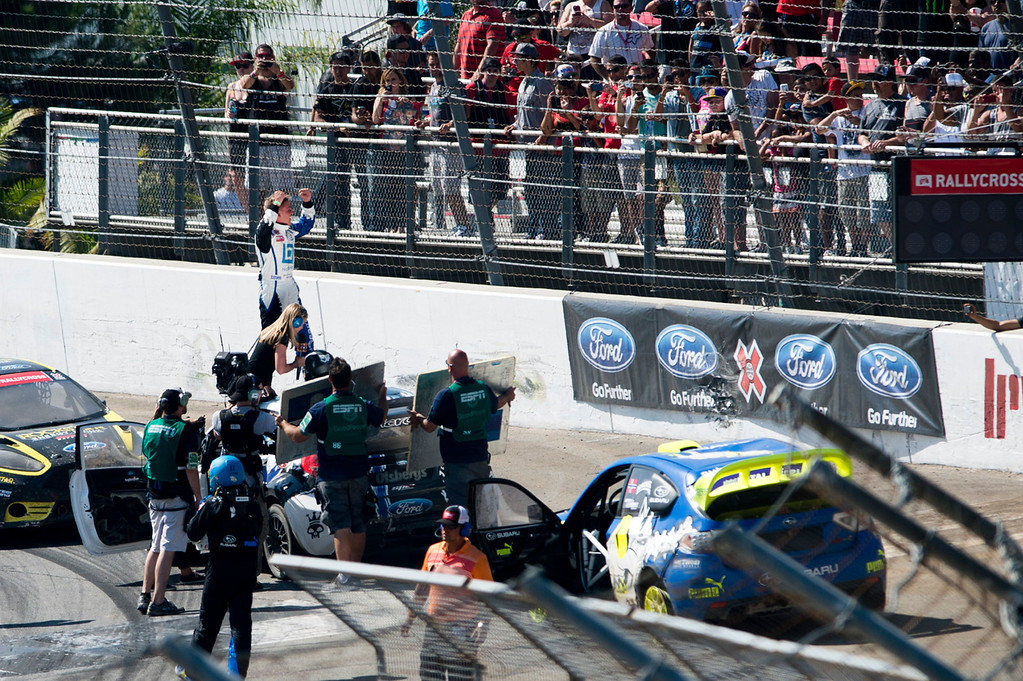 . Toomas Heikkinen celebrates on top of his car after winning in Ford RallyCross SuperCar during X Games Los Angeles at Irwindale Event Center on Sunday, August 4, 2013. SGVN/Staff photo by Watchara Phomicinda)