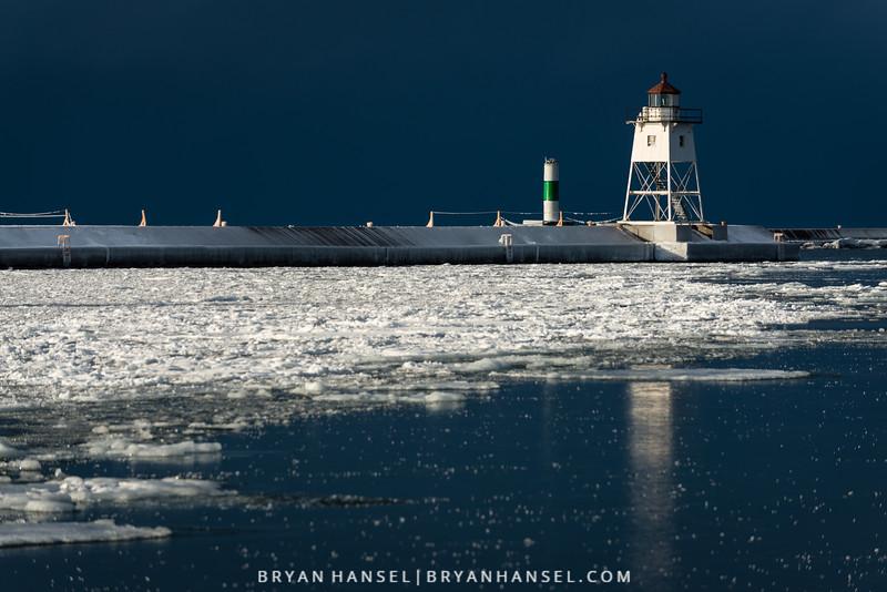 Grand Marais Lighthouse on a Winter Morning