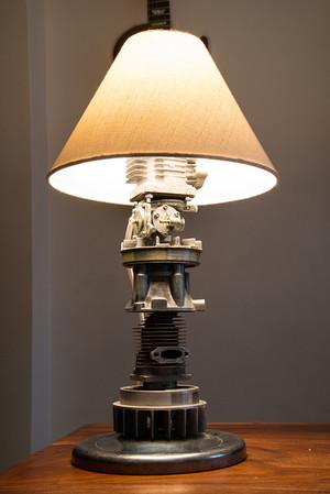 Table lamp scrap metal art