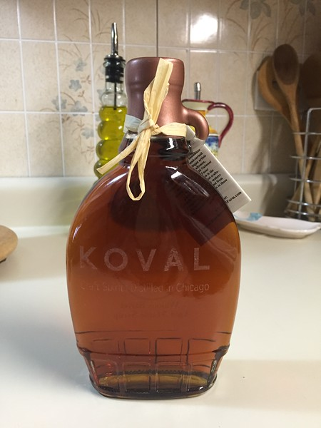 Deeeeelicious maple syrup aged one year in whiskey barrels from the Koval Distillery in Chicago, IL..