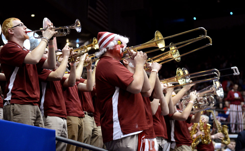 . The Temple Owls band performs in the first half against the Indiana Hoosiers during the third round of the 2013 NCAA Men\'s Basketball Tournament at UD Arena on March 24, 2013 in Dayton, Ohio.  (Photo by Jason Miller/Getty Images)