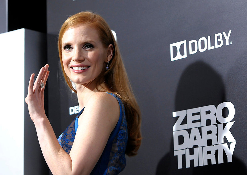 ". Actress Jessica Chastain arrives at the premiere of the feature film ""Zero Dark Thirty\"" at the Dolby Theatre in Los Angeles on Monday, Dec. 10, 2012. (Photo by Dan Steinberg/Invision/AP)"