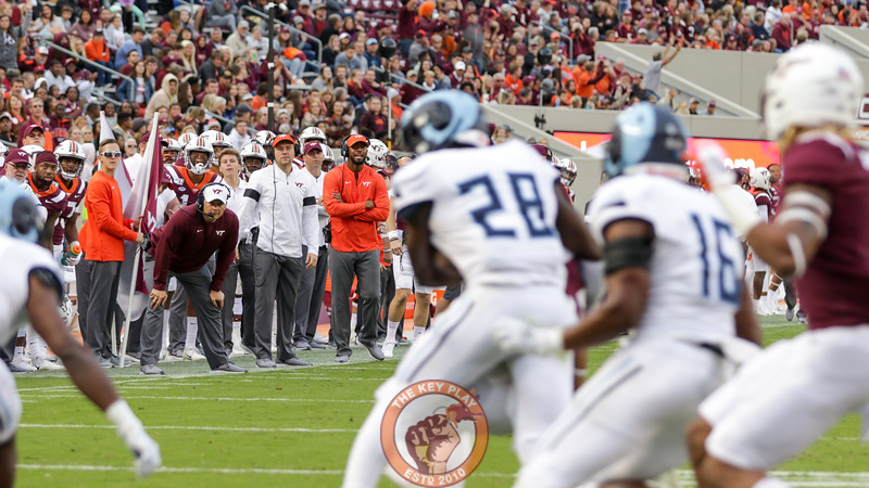 Head coach Justin Fuente looks on during a play in the South endzone. (Mark Umansky/TheKeyPlay.com)