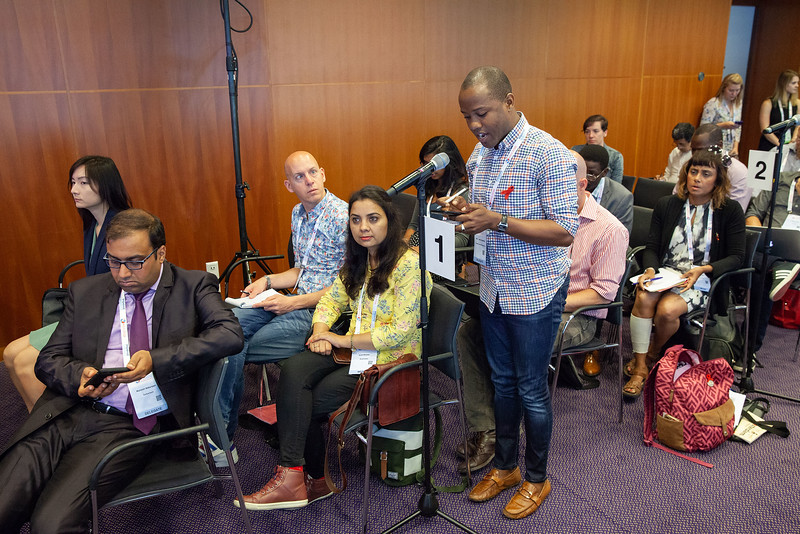 The Netherlands, Amsterdam, 25-7-2018. Press conference: The future of HIV funding: the public, questions. John Kashiha, activist from Zimbabwe.Photo: Rob Huibers for IAS. (Please publish always with complete attribution).