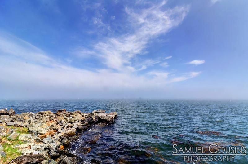 Thick fog over Casco Bay