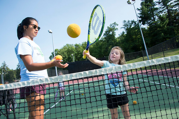 07/08/19 Wesley Bunnell | Staff The Bristol Parks & Recreation department is holding tennis lessons for children ages 4-7 every Monday and Wednesday afternoon through the first week of August at Page Park. Instructor Joanne Le works with Emily Mullins, age 5.