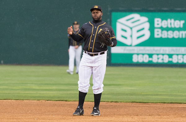 05/03/19 Wesley Bunnell | Staff The New Britain Bees home opener vs the Somerset Patriots on Friday night at New Britain Stadium. First baseman Jason Rogers (9) reacts to a call by the home plate umpire.