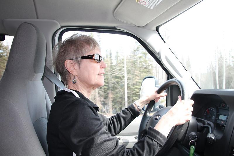 Anne Hanley behind the wheel.