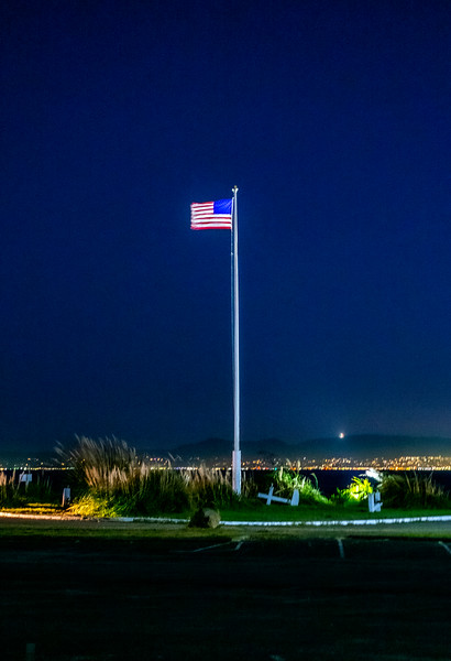 Red White and Blue at Night