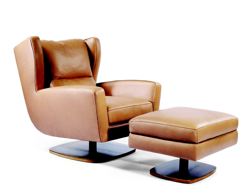 . The Skoop Chair and Ottoman on swivel bases by Ted Boerner, Inc. Erin Derby.
