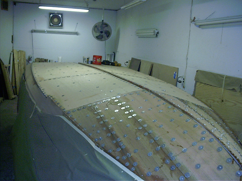 Port front view of second bottom layer held in place with tempory fasteners.