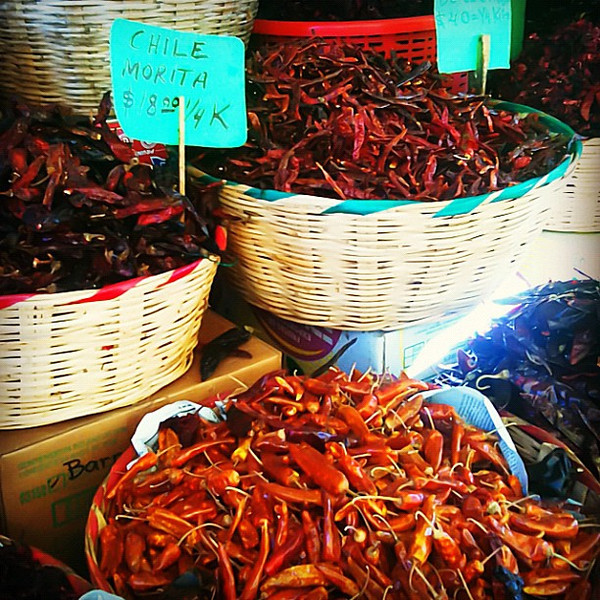 Chili pepper bonanza at Juarez Market in #oaxaca #mexico