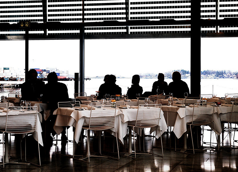 Guests at tables. Oslo Opera House. Oslo.