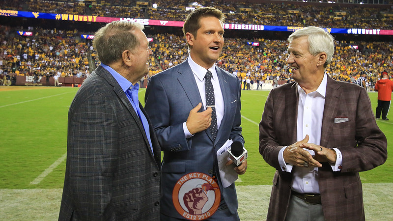 ESPN reporter Todd McShay speaks with Frank Beamer and Don Nehlen on the sidelines. (Mark Umansky/TheKeyPlay.com)