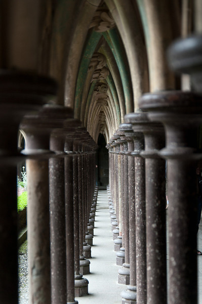 View from inside the Cloister in Mont Saint Michel, Normandy, France.