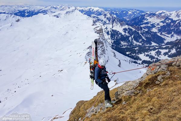 Hohe Ifen ski tour, abseil route, Kleinwalsertal