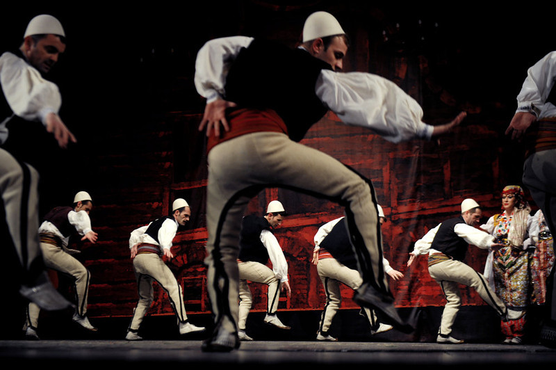 """. Members of the National state song and dance Ensemble \""""Shota\"""" perform at the national theatre in Pristina on February 15, 2013. Kosovo will mark the fifth anniversary of its unilateral declaration of independence from Serbion on February 17. ARMEND NIMANI/AFP/Getty Images"""