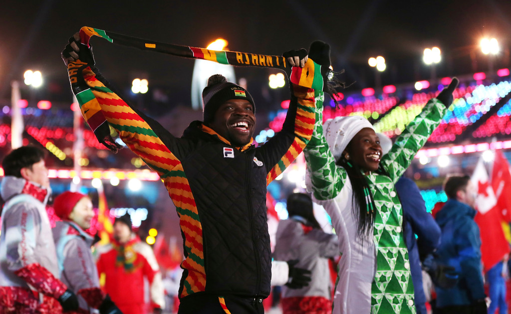 . Athletes from Africa walk in the stadium during the closing ceremony of the 2018 Winter Olympics in Pyeongchang, South Korea, Sunday, Feb. 25, 2018. (AP Photo/Natacha Pisarenko)