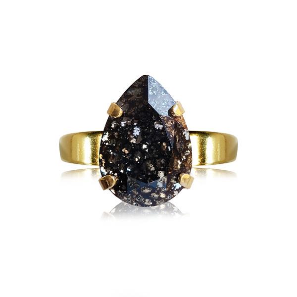 Mini Drop Ring / Black Patina / Gold