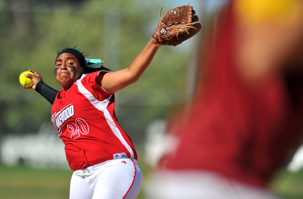 . LONG BEACH - 04/09/2013  (Photo: Scott Varley, Los Angeles Newspaper Group)  Lakewood vs Wilson girls softball at Joe Rodgers Field. Lakewood pitcher Janel Hayes.