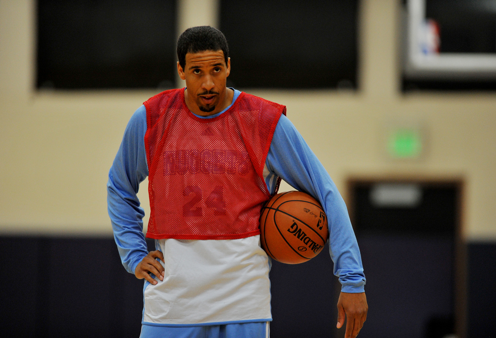 . Andre Miller of Denver Nuggets is in the team practice for the 1st round of playoff game against Golden State Warriors at Pepsi Center. Denver. Denver, Colorado. April 19, 2013. (Photo By Hyoung Chang/The Denver Post)