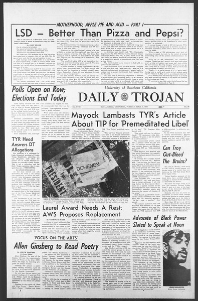 Daily Trojan, Vol. 58, No. 98, April 04, 1967